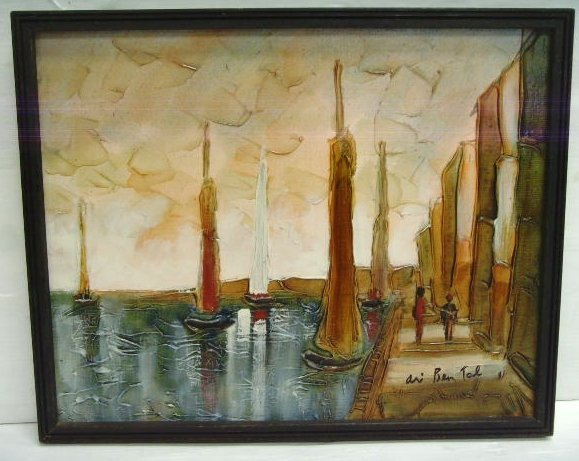 120: Ari Ben Tal signed Oil Painting