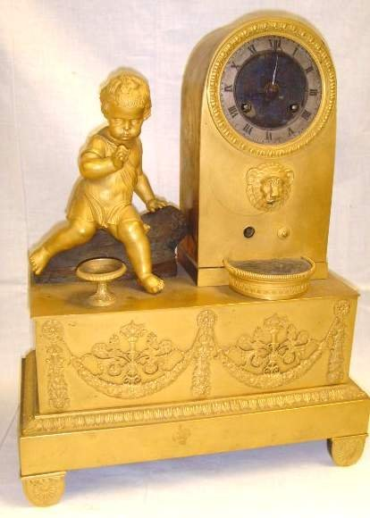 495: French Empire Period Shelf Clock Figural