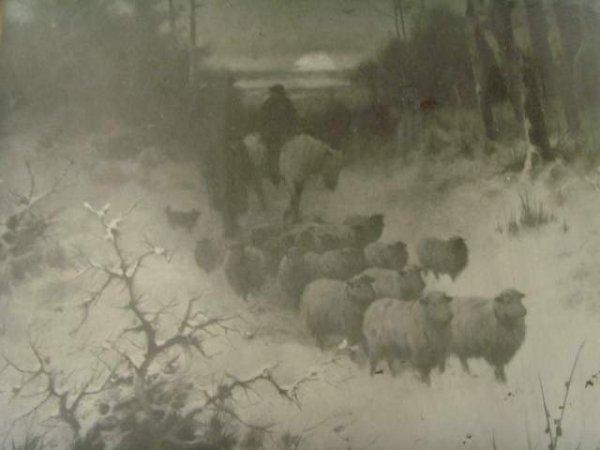 593: E. Stanton Print Winter Scene with Sheep - 2