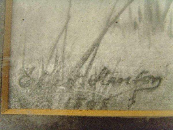 593: E. Stanton Print Winter Scene with Sheep - 3