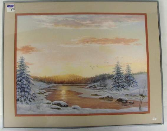 598: Unsigned Pastel Winter River Landscape