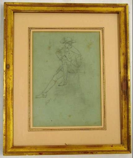 601: D.M. Bunker  Pencil Sketch - Seated Pilgrim