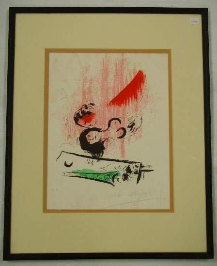 607: Chagall signed Lithograph Tour Eiffel Verte