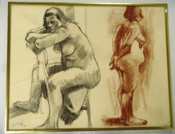 610: Grosz signed Sketch of Nudes