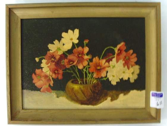 611: Unsigned Oil Painting Still Life on Board
