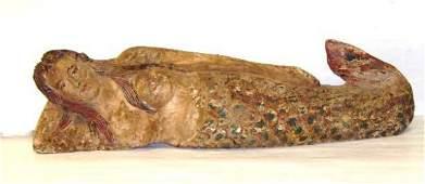 816B: Carved Early Mermaid Sculpture