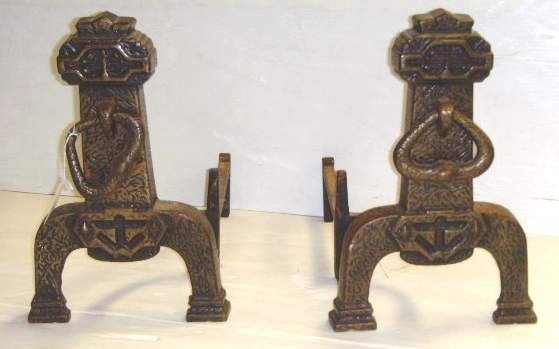 1306: Pair of Arts and Crafts Andirons