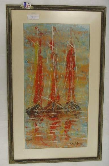 1316: Signed Oil Painting Sailboat