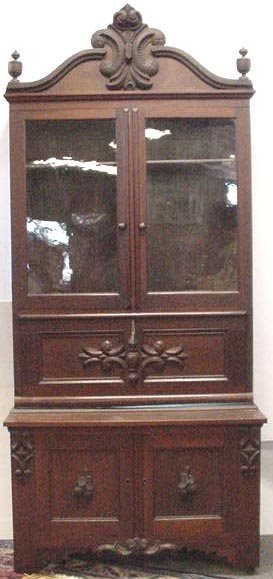 175: 2PC. EARLY VICTORIAN CARVED SECRETARY
