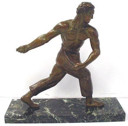 176: UNSIGNED BRONZE AND MARBLE SCULPTURE