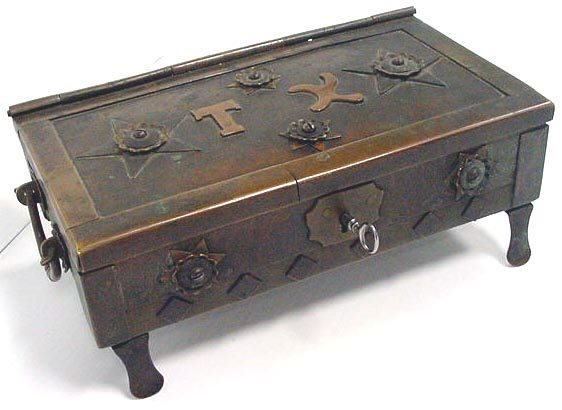 331: ARTS AND CRAFTS BRONZE FOOTED BOX