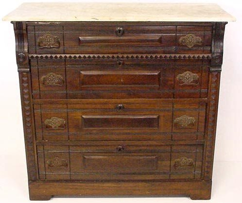 717: AMERICAN VICTORIAN CHEST OF DRAWERS WITH MARBLETOP