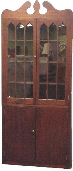 749: ANTIQUE MAHOGANY CORNER CABINET WITH GOTHIC GLASS
