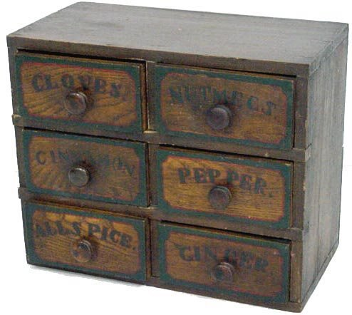 778: EARLY DECORATED COUNTRY SPICE BOX