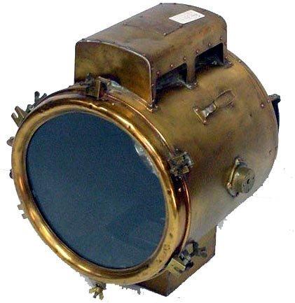 783: EARLY BRASS MARINE SEARCH LIGHT KOITO INDIANA