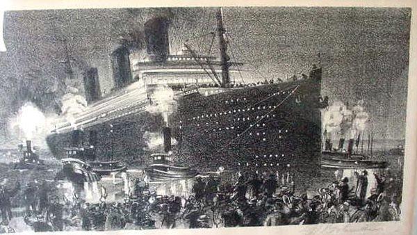 4:SIGNED LITHO DEPARTURE OCEANLINER 1937