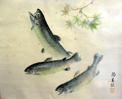 21: SIGNED JAPANESE FISH PRINT