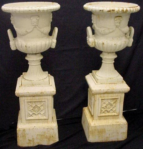 403: PAIR OF VICTORIAN STYLE CAST IRON URNS W/ STAND