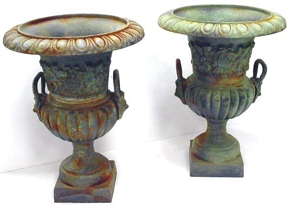 413: PAIR ORNATE VICTORIAN STYLE CAST IRON URNS-