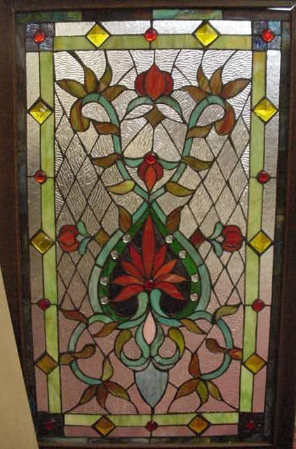 415: VICTORIAN STYLE STAINED GLASS WINDOW