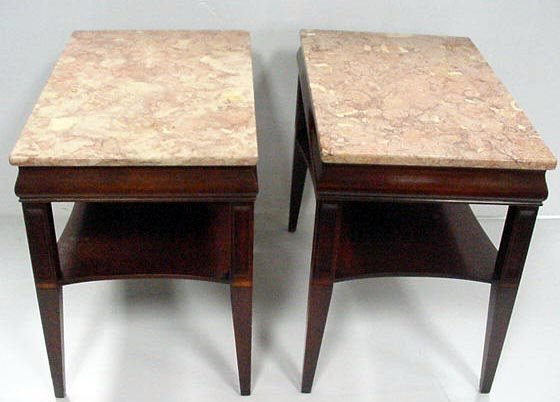 419: PAIR MARBLETOP MAHOGANY STAINED LAMP TABLES