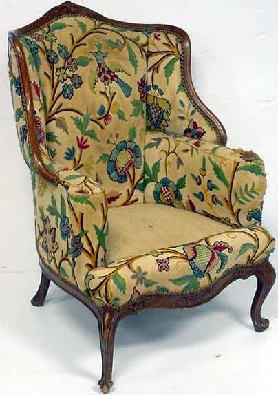 447: LOUIS XV STYLE CARVED CRUELLE WING CHAIR