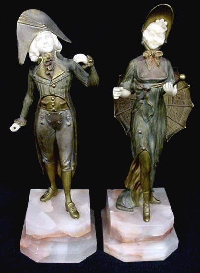 298: MARQUET FRENCH BRONZE AND IVORY FIGURES