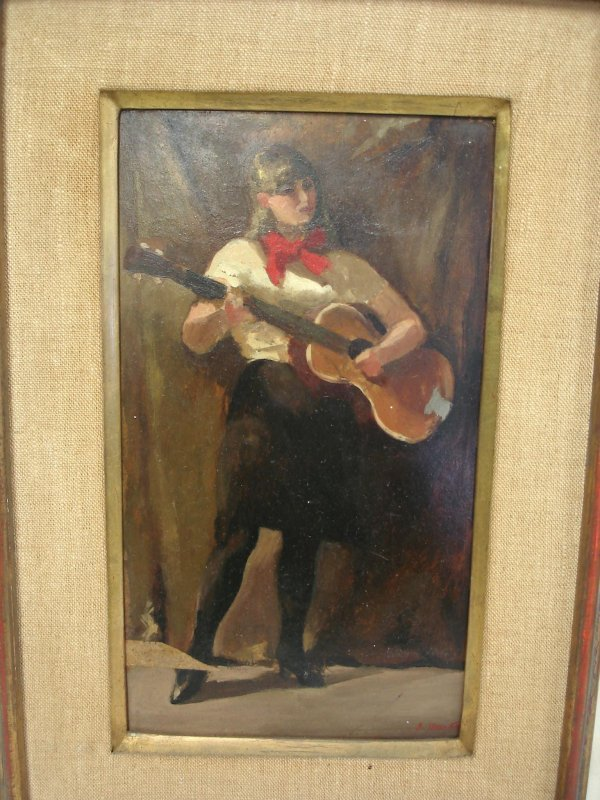 109:  PAINTING OF GIRL BURKE, S SIGNED OIL ON BOARD