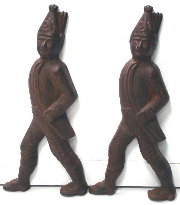 112: PAIR OF EARLY CAST IRON FIGURAL ANDIRON