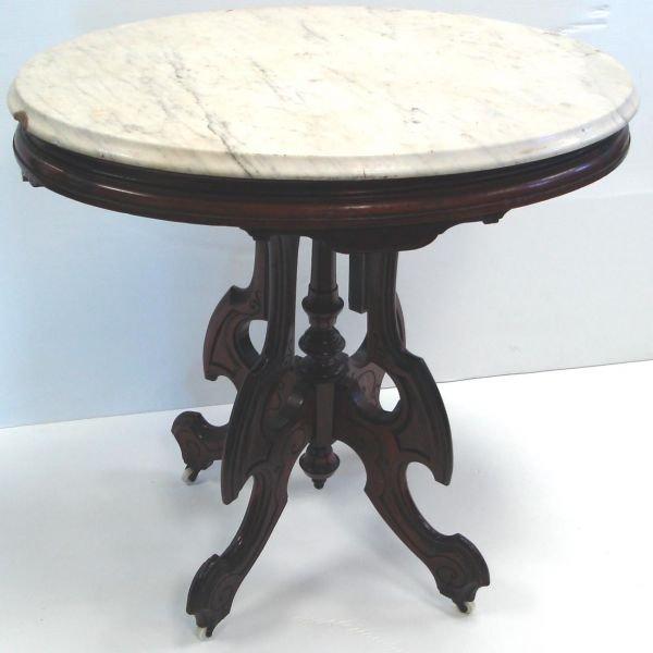 120: FINGER CARVED VICTORIAN MARBLETOP TABLE