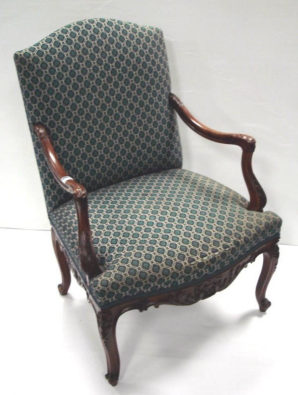104: CARVED FRENCH OPEN ARMCHAIR