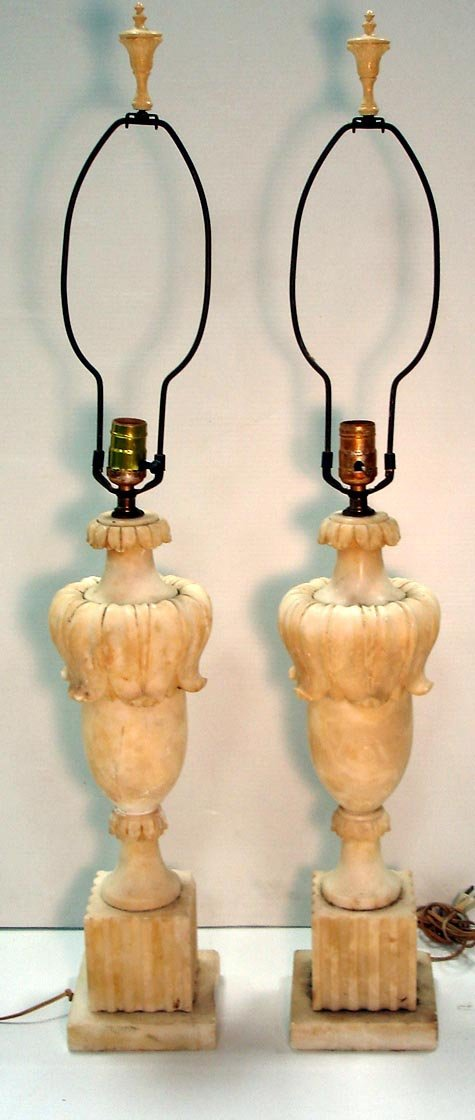 106: PAIR OF CARVED ITALIAN ALABASTER LAMPS