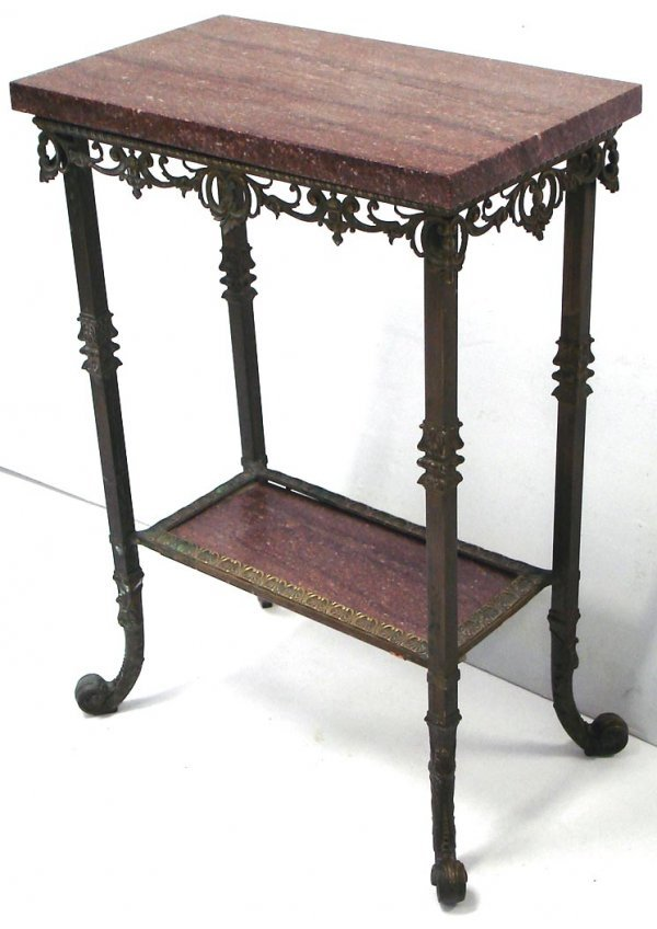 "107: 2 TIER VICTORIAN BRASS/MARBLE TABLE   32"" HIGH"