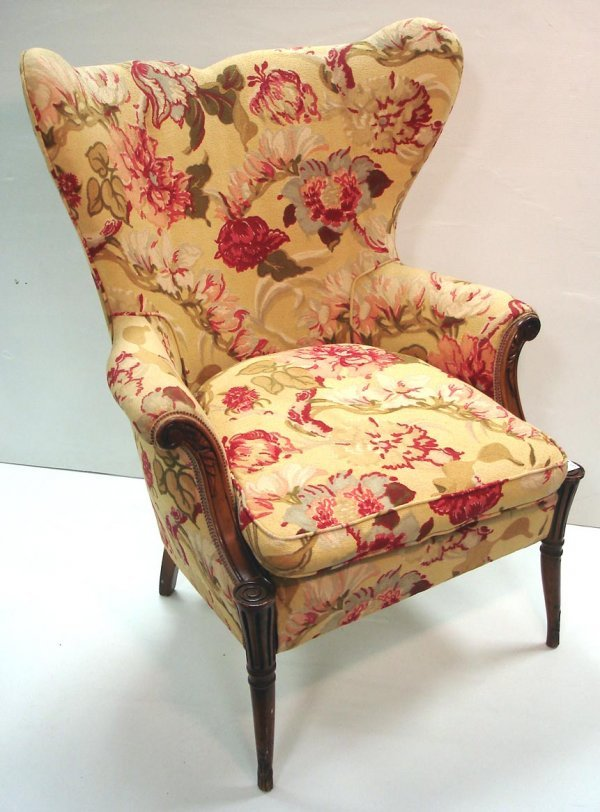113: CARVED MAHOGANY WINGCHAIR