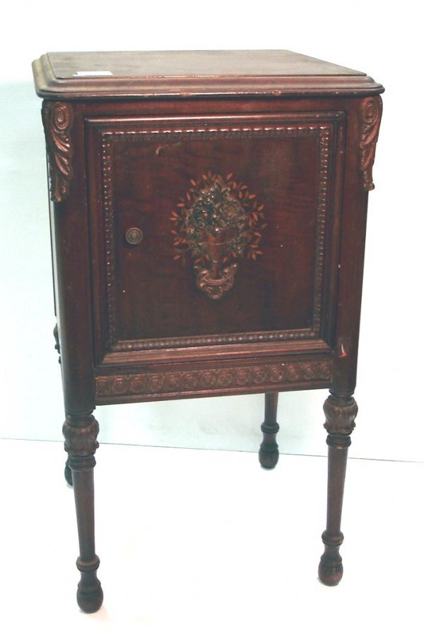 "115: PAINTED DECORATED WALNUT NIGHT STAND   28 1/2"" HIG"