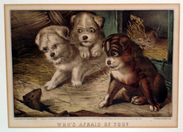 118: FRAMED DOGS CURRIER AND IVES PRINT