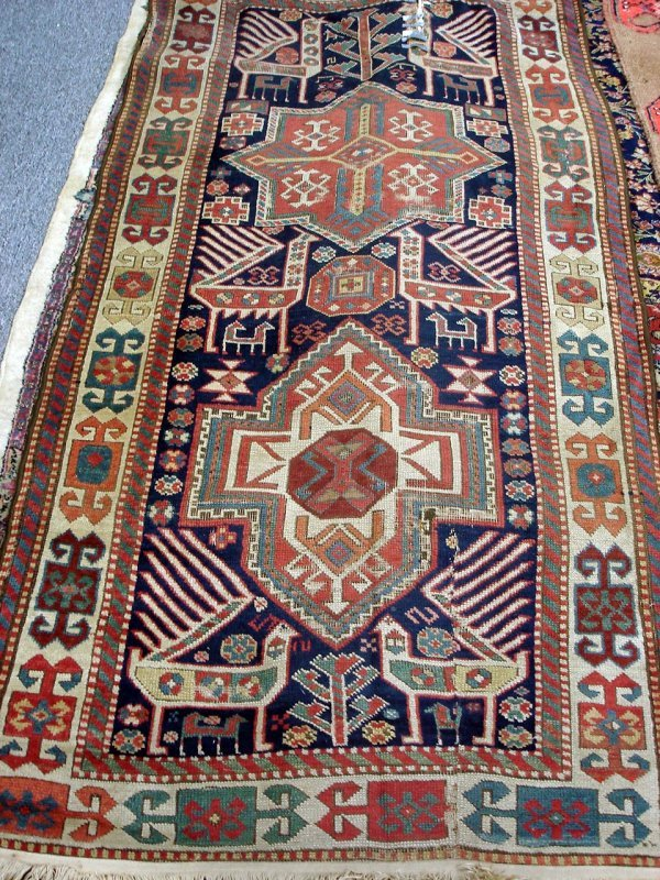 601: ANTIQUE HANDMADE PERSIAN RUG KAZAK