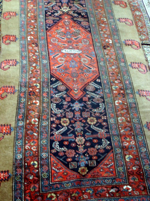 602: ANTIQUE HANDMADE CAMEL PERSIAN CARPET CAUCASION