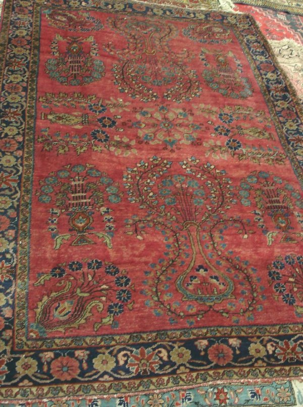 "603: ANTIQUE HANDMADE PERSIAN RUG 4'3"" X 6'4"""