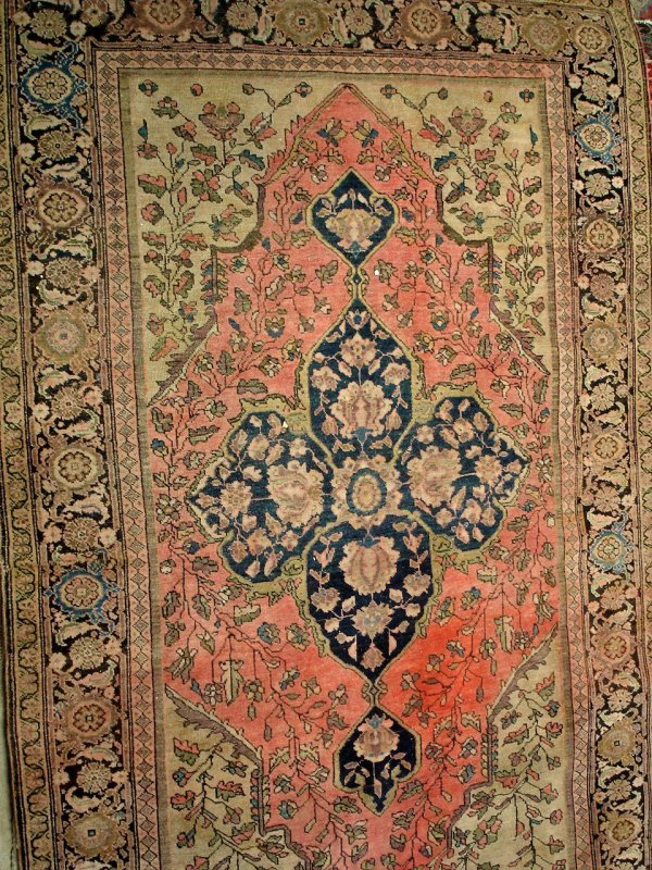 "608: ANTIQUE PERSIAN RUG 4'2"" X 6'4"""