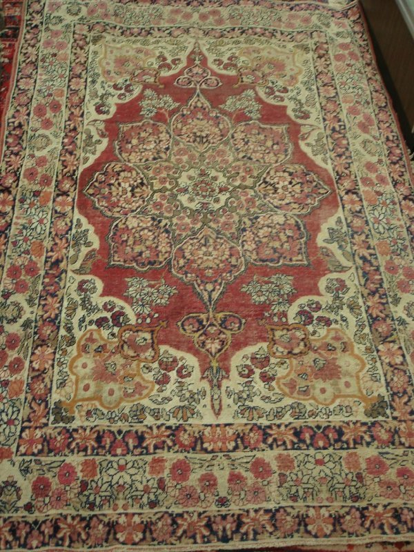 "610: 4'3"" X 6'7"" ANTIQUE PERSIAN RUG KIRMAN"