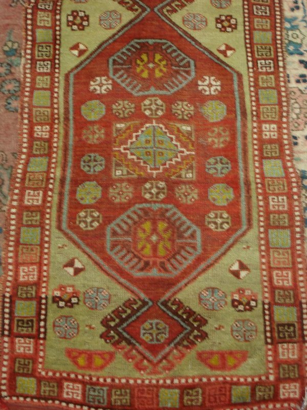 613: ANTIQUE HANDMADE PERSIAN RUG CAUCASION TYPE