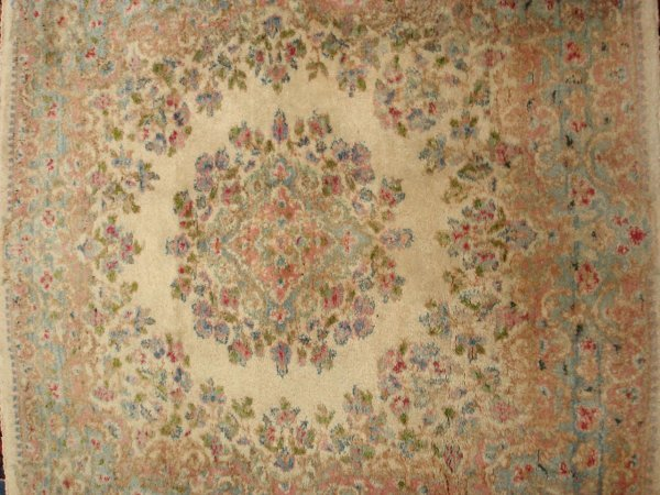 615: ANTIQUE HANDMADE PERSIAN RUGS (2) KIRMAN
