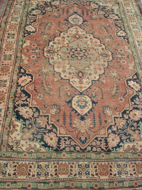 "616: ANTIQUE HANDMADE HERIZ RUG 7'4"" X 10'8"""