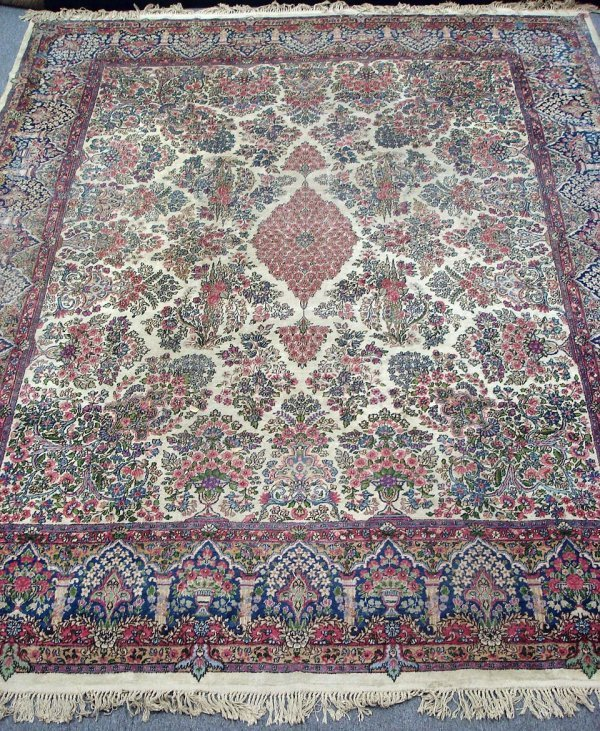 "621: ANTIQUE PERSIAN RUG 9'7' X 11'8"" IVORY KIRMAN"