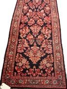 600: ANTIQUE HANDMADE PERSIAN RUG BLUE SAROUK RUNN