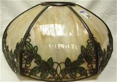 330: SIGNED HANDEL METAL OVERLAY PANEL GLASS LAMP SHADE