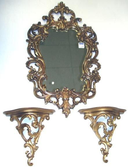 719: SYROCCO WOOD CONSOLE WITH MIRROR SET