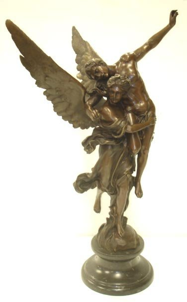 46: VICTORIAN STYLE BRONZE SCULPTURE FIGURAL GROUP
