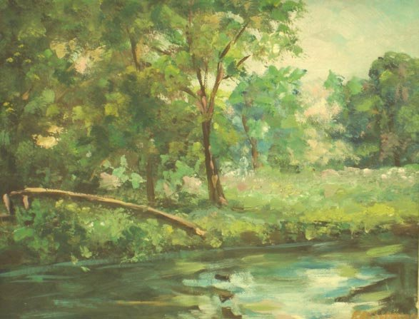 "57: SIGNED OIL ON CANVAS BOARD 8 X 10"" LANDSCAPE"